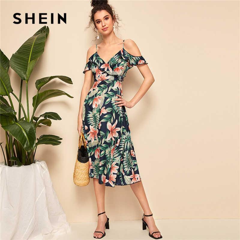 SHEIN Boho тропический принт с рюшами Элегантный галстук на спине с открытыми плечами на бретельках миди платье для женщин подходит и расклешенные Летние Элегантные платья с высокой талией