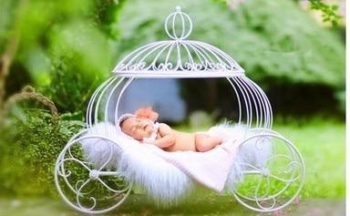 Nouveau-né photographie accessoires bébé studio tiré petit lit princesse bebe accessoires blanc élégant fer art citrouille panier - 2