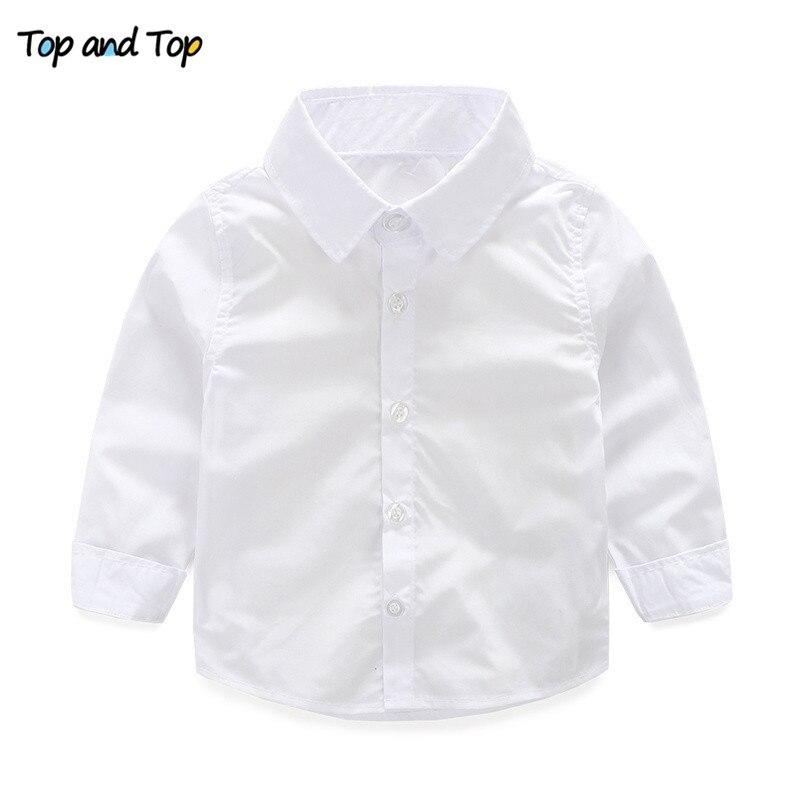 Top E Top Signore Manica Lunga Vestiti Del Bambino Bianco Camice Dei Ragazzi Collare Turn-down Camicia Del Ragazzo Del Bambino Del Bambino Del Cotone Camicetta