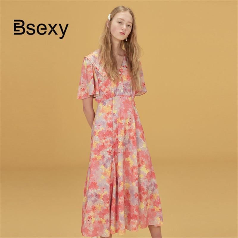 Women Korean Pink Floral Midi Dress 2019 Summer Peter pan Collar Short Sleeve Fit Flare Long