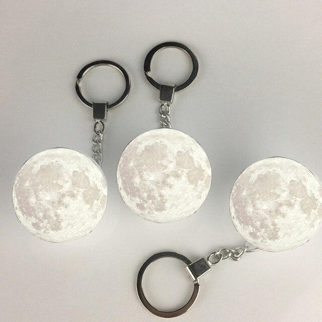 Portátil 3d Única forma da lua decoração Keychain Night Light-Luz Branca branco durável e prático presente