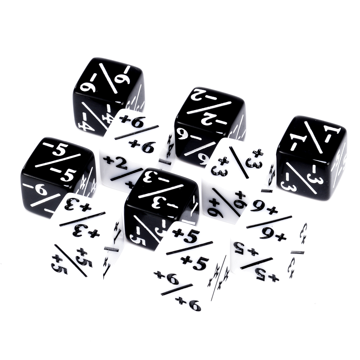 10pcs/set Black White Counters Dice For Magic The Gathering Interesting Gambling Outdoor Party Games Dice Set