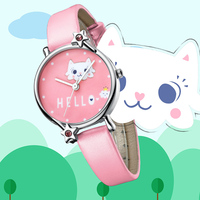 KDM Kids Children Watches Cute Girl Watch Cartoon Cat Child Watches Kids Waterproof Pink Leather Lovely Students Clock