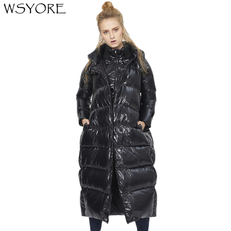 WSYORE Loose Large Size Winter Duck   Down   Long Jackets and   Coats   Women Hooded Shine Black Thick Fat MM A-line   Down     Coat   NS544