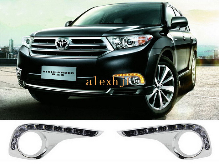 July King 12LEDs Daytime Running Lights DRL LED Fog Lamp Yellow Turn Signals case for Toyota Highlander 2011~13, Plating version tcart 2x auto led light daytime running lights turn signals for toyota prius highlander for prado camry corolla t20 wy21w 7440