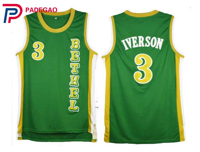 Aliexpress.com   Buy 2018 Embroidery Stitched Throwback Basketball Jerseys  Allen Iverson Bethel High School White green Basketball Jersey Reto shirt  from ... 96d1ac2b01