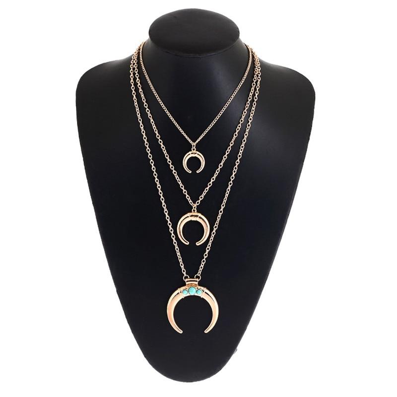 Бирюзовый золотое ожерелье и Кулон Ожерелье мульти женская мода шарм ювелирных изделий