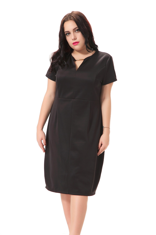 Plus Size Black Dress Women With Metallic Decoration Big -8098