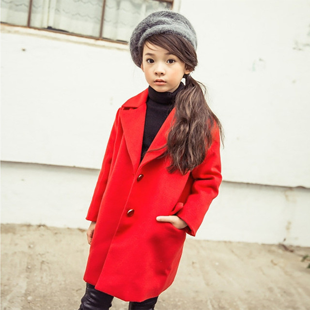 2016 Autumn Winter Kids Girls Clothing Fashion Girl Wool Coats Jackets Elegant Princess Jacket Children Outerwear