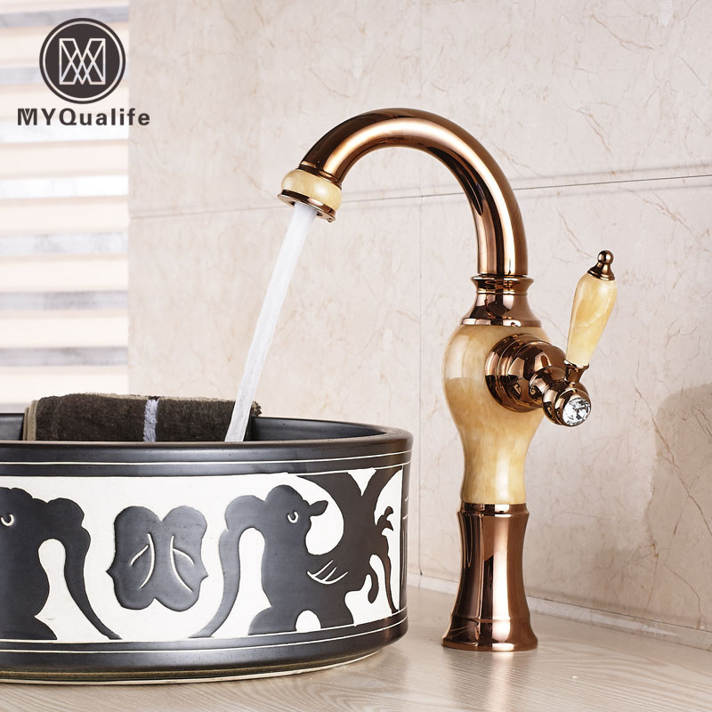 Creative Single Handle Rose Golden & Marble Countertop Basin Sink Faucet Deck Mounted Hot and Cold Bathroom Kitchen Taps dropshipping golden countertop basin faucet one handle single hole brass vanity sink mixer taps with hot and cold water