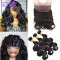 Hot Sale 7A Malaysian Virgin Hair Body Wave Pre Plucked 360Lace Frontal Closure with Bundles  Black Friday 360Lace Virgin Hair