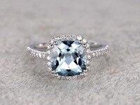 MYRAY Natural Cushion Cut 8mm Blue Aquamarine Genuine Gemstone 14k White Gold Engagement Ring Antique Women