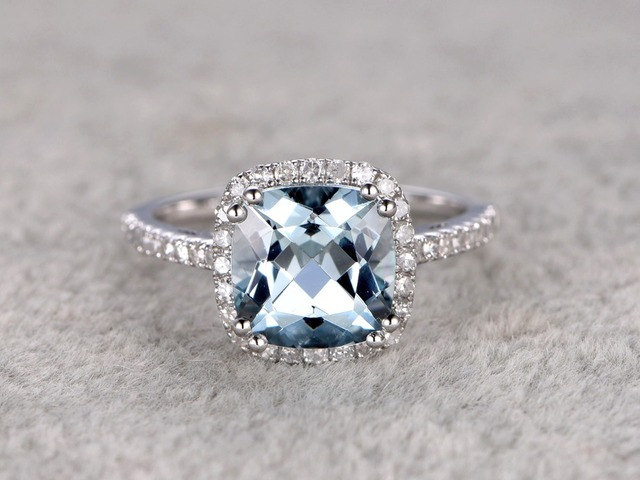 Vintage Antique Natural Blue Aquamarine Wedding Engagement Diamond for Fashion Women Band Ring 14K Solid White Gold 87rNfr