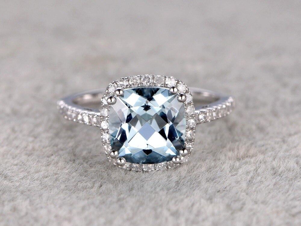 MYRAY Natural Cushion Cut 8mm Blue Aquamarine Genuine Gemstone 14k White Gold Engagement Ring Antique Women Rings Jewelry Stone