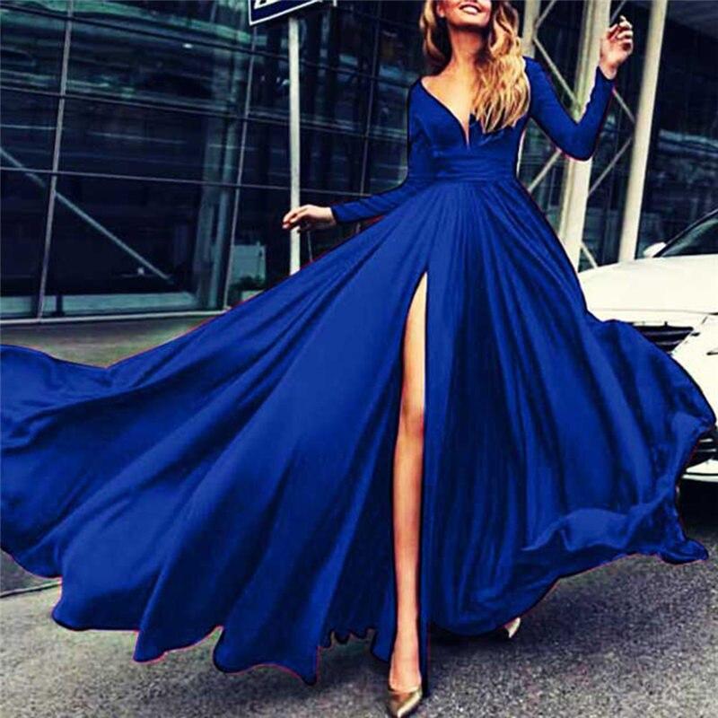 Red Blue Split Long Dress Formal Women Evening Party Dresses Long Sleeve  Ceremony V Neck Female 6bcec33d3919
