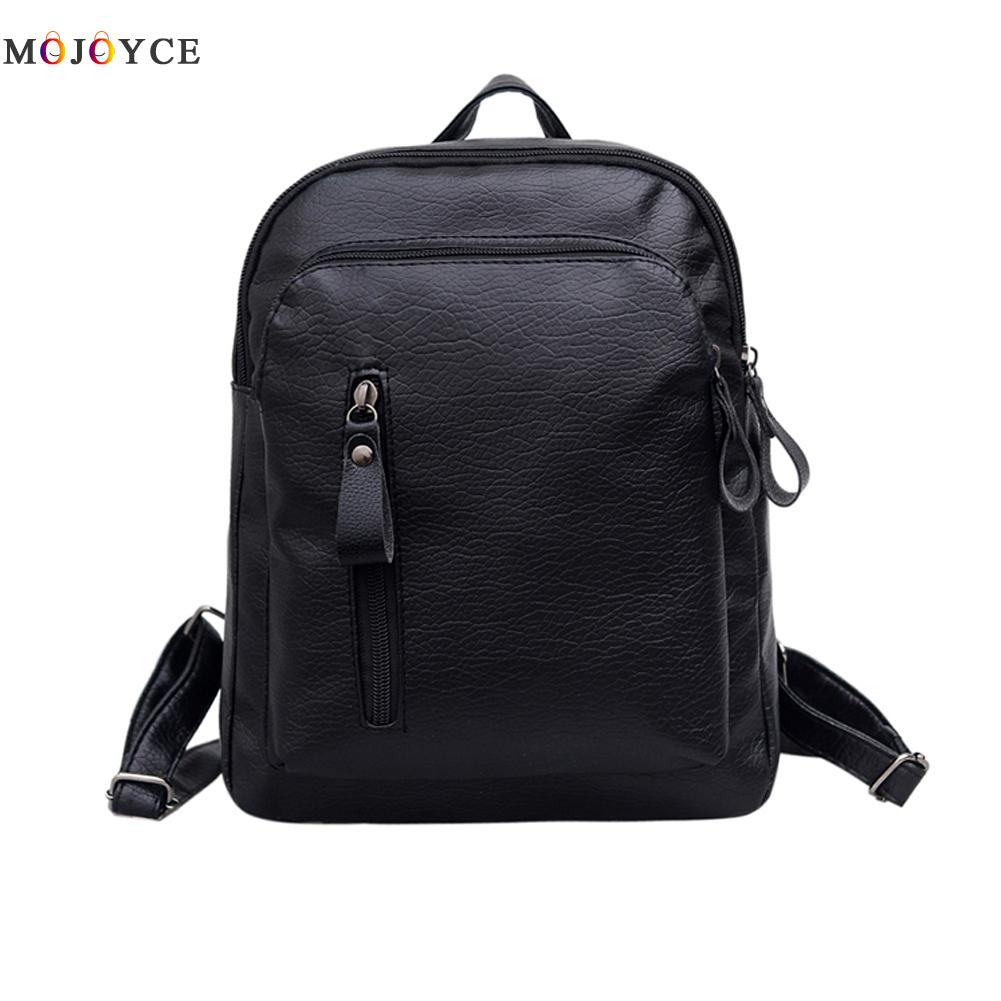 Women Backpacks Solid Fashion School Bag For Teenage Girls High Quality PU Leather Vintage Waterproof Backpack