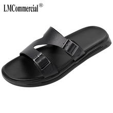 Genuine Leather Thick Bottom Mens Slippers Summer One-word Sandals fender summer men genuine leather slippers