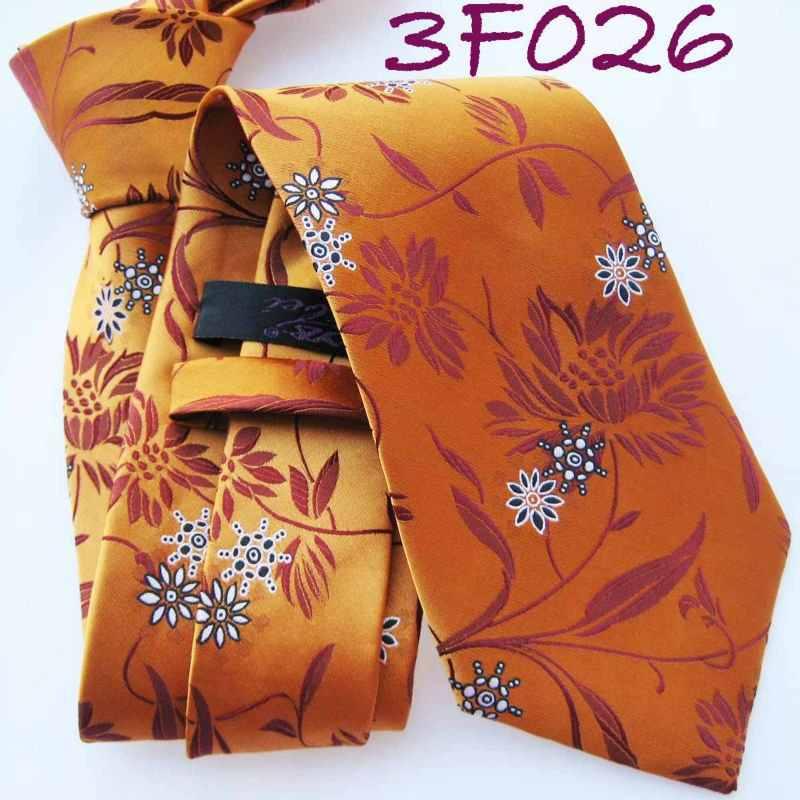 YIBEI hubungan Mens Retro Orange dengan Motif Bunga Kain Dasi Merah Tua Dasi sutra mode Ties untuk pria berpakaian kemeja Pernikahan GRATIS Pengiriman