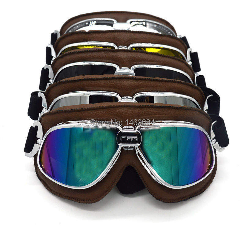 Evomosa Vintage Goggles Aviator Pilot Style Motorcycle Cruiser Scooter Goggle Bike Racer Cruiser Touring Half Helmet Goggles