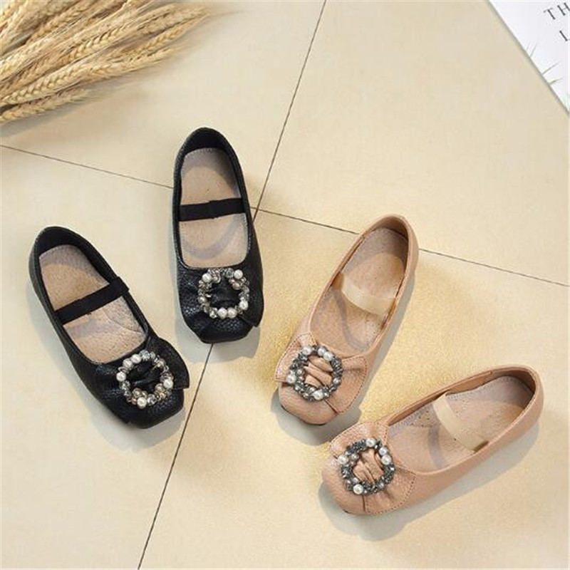 New Fashion Square Head Pearl Rhinestone Bowknot Single Shoes Children Princess Leather Shoes Girls Baby Kids Shoes Flats 03