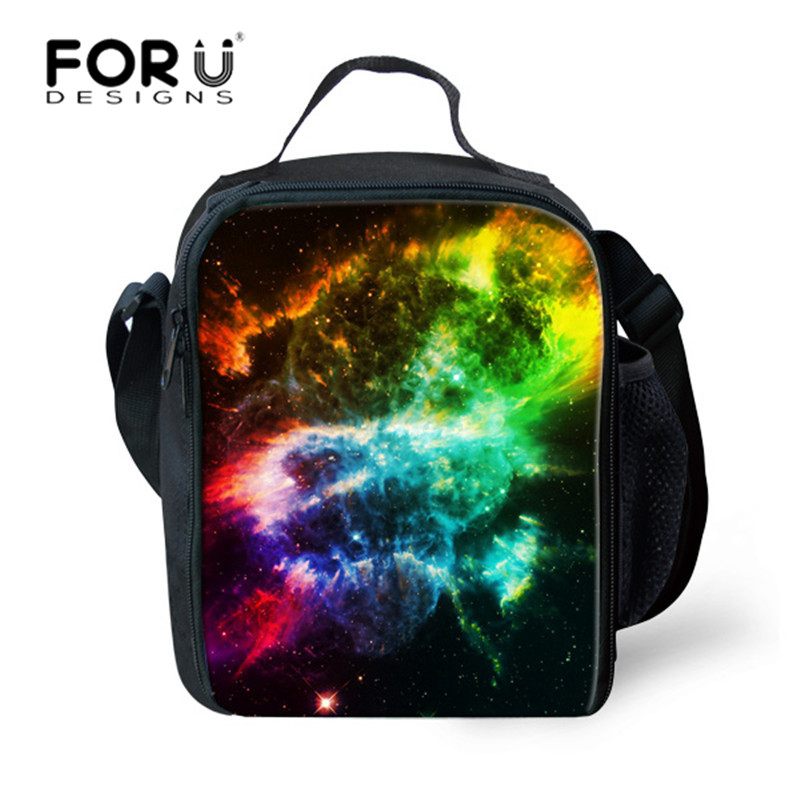 FORUDESIGNS Galaxy Printed Pinic Bags for Kids Girls Planet Sky Psychedelic Design Gift for Children Snack School Lunch Handle