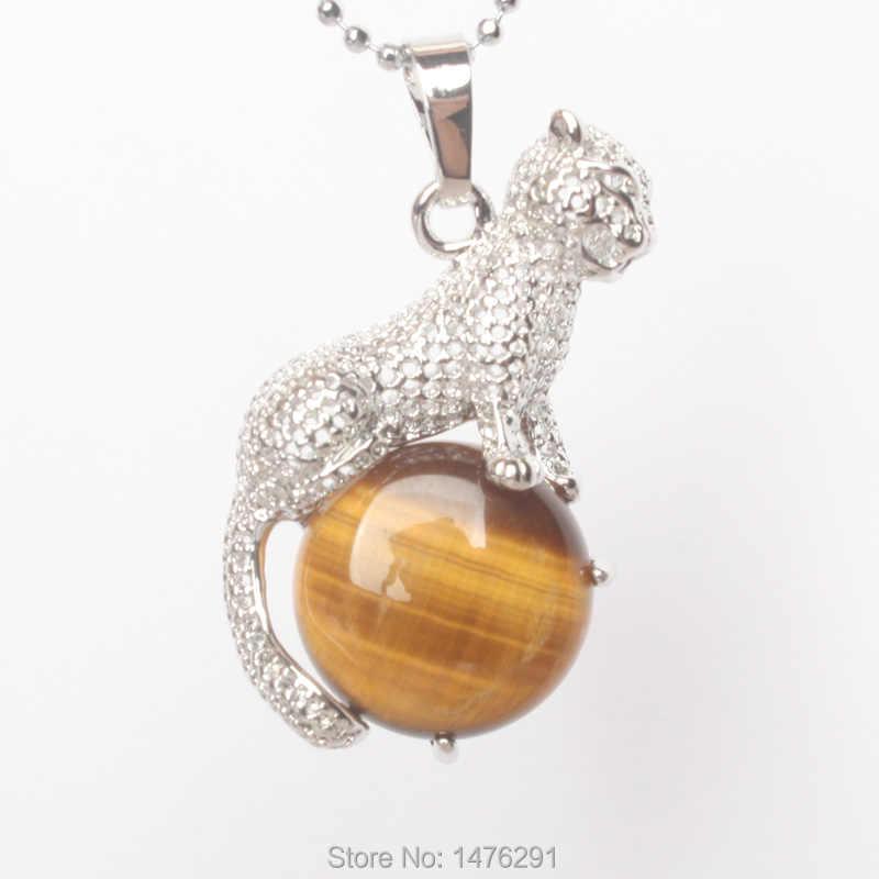 2018ใหม่มาถึงธรรมชาติเสือตาหินทองแดงสัตว์เสือดาวจี้เสน่ห์เครื่องประดับ1ชิ้น