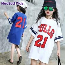 Nouveau Enfants 2017 D'été Longue Chemise de Style Bébé Enfants Sports De Filles T-shirt Baseball T-shirt Enfant Figure Robe, 3-14Y, #2158
