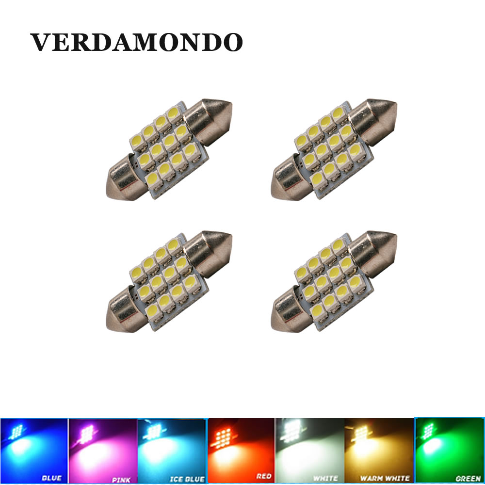 4pcs Super Bright 31mm12 SMD 3528 Car Interior Dome Festoon LED Light Bulbs Lamp White Warm White Red Green Blue Ice Blue Pink