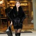 Novos Cachecóis de Malha Raposa Faux Fur Xaile Poncho Com Fox Aparamento Fur Jacket Mulheres Moda 2016 Estilo Casaco de Pele De Raposa