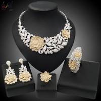 Yulaili Luxury Gold Series With Ethnic Feelings Rose Flower Leafage Design CZ Four Jewelry Sets in Party Show For Classic Women