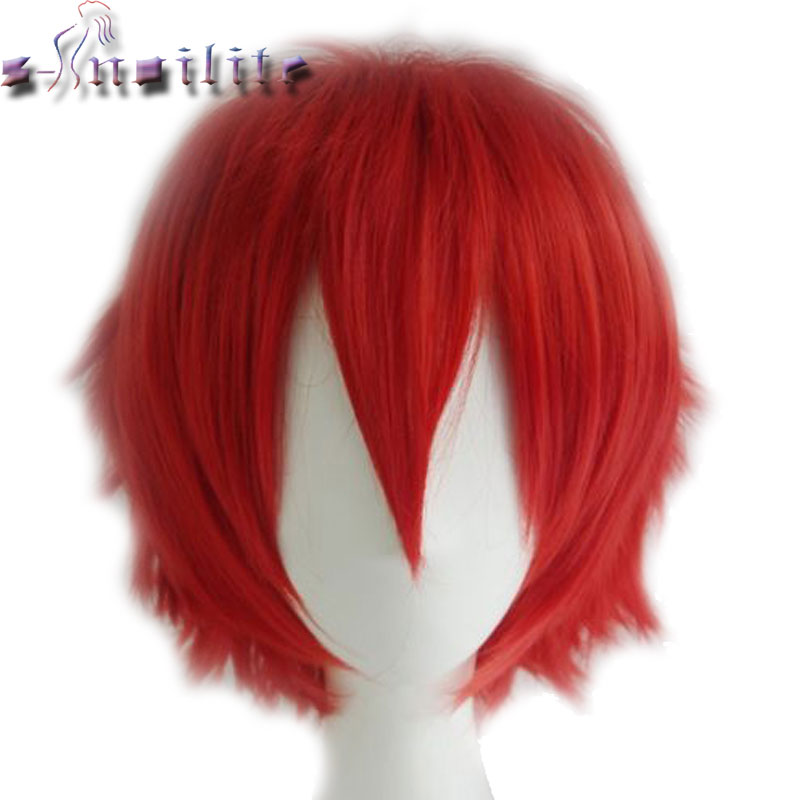 S-noilite Anime Short Wig Blue Brown Blonde Black Women Men Cosplay Costume Party Full Head Wigs Synthetic Hair
