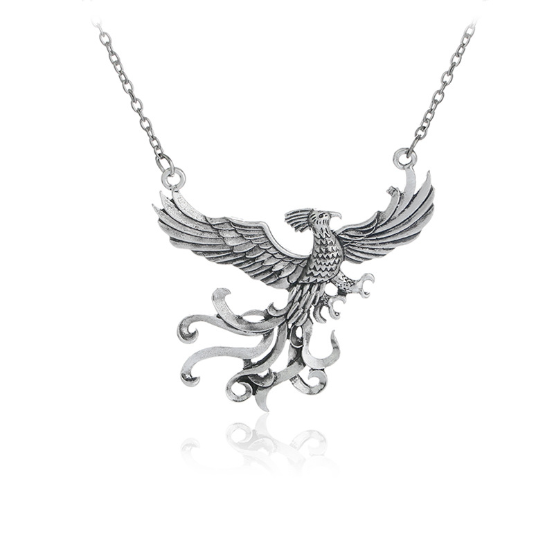 2017 new fashion phoenix fire bird necklace vintage antique silver 2017 new fashion phoenix fire bird necklace vintage antique silver firebird pendant jewelry for men and women wholesale in pendant necklaces from jewelry mozeypictures Image collections