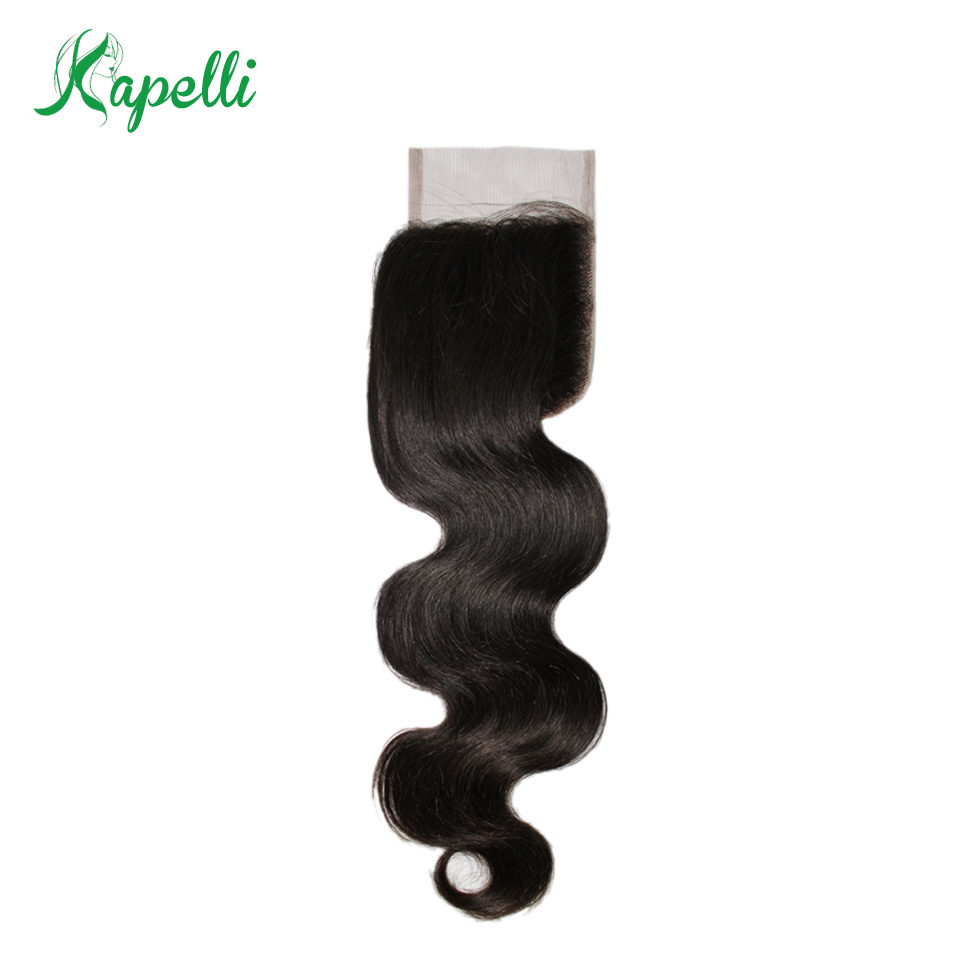 Kapelli Brazilian Body Wave Closure Free Part 100% Human Hair Lace Closure 8-20Remy Hair 120% Density Swiss Lace Free Shipping