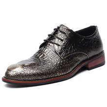 Brand Genuine Leather Men Shoes Crocodile Pattern Hand-made Casual Flats Men Business Oxfords Male Leather Shoes