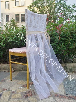 20pcs YHC#110  elegant lace chiavari chair back cover with pleats tulle skirt for chair decor