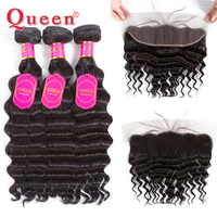 Queen Hair Products Brazilian Hair Weave Bundles With Frontal Closure Loose Deep More Wave Remy Human Hair Bundles With Closure