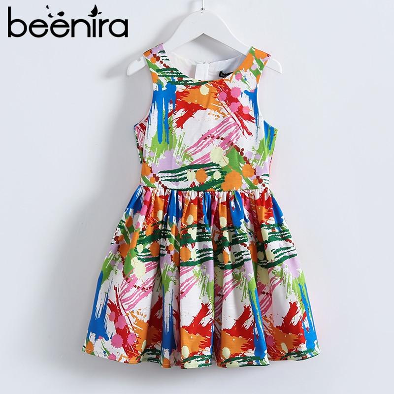 Beenira Girl Princess Dress 2017 Brand Summer Girls Party Geometric Pattern Dresses Kids Clothes Knee Length