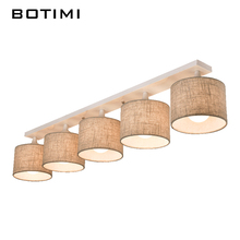 BOTIMI Modern Fabric Lampshade Ceiling Lamp With E27 Lamparas de techo Cloth Ceiling Mounted Home Lighting Fixture For Room Deco