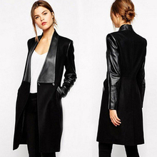 Women Winter Warm Long Sleeve Faux Leather Slim Fit Pure Black Coat Overcoat