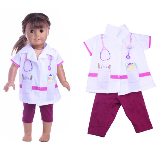 Doctor suit set for Baby Born Clothes fit 18 inch american girl doll Children best Birthday Present pretend and play doctor set little doctor kids baby toddler children junior doctor nurses medical set kit role play toy