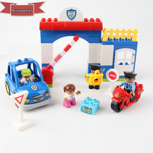Bricks Toys Building-Blocks Big-Size Figures-Parts Car-Accessory Policeman Kids Children