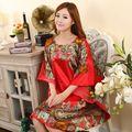 Plus Tamaño de Las Mujeres de Imitación de Seda Albornoz Bata Camisón Sleepshirts Pijama Mujer Verano Nuevo Estilo ropa de Dormir Impresa Zh591C