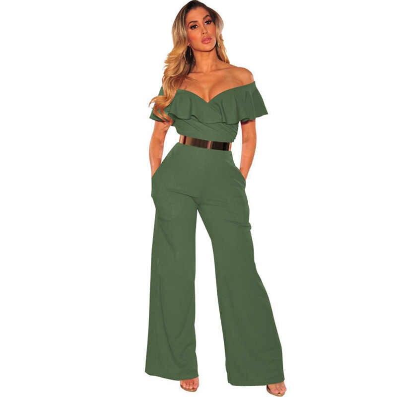 25701da92975 Summer Off Shoulder Formal Jumpsuits Rompers for Women Elegant Sexy Ruffles  Loose Long Pants Overalls Ladies