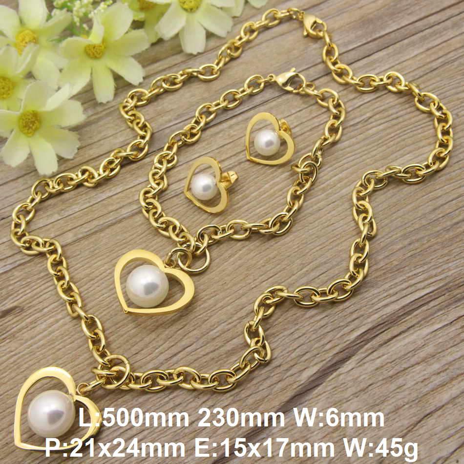 82c1a77eebec Nueva moda joyería de acero inoxidable en forma de corazón plateado oro  color Collares + pulseras + earring establece para las mujeres sgeacwdc