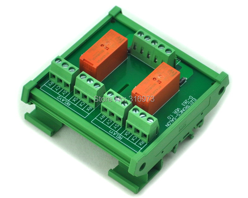 DIN Rail Mount Passive Bistable/Latching 2 DPDT 8A Power Relay Module, 24V Version