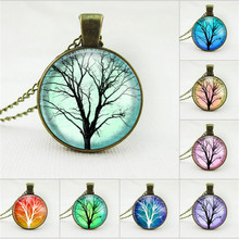 2016 New Design life tree jewelry family tree necklace long chain necklace glass cabochon antiqued bronze pendant necklace women