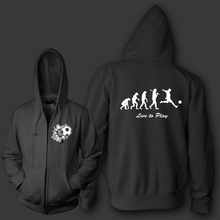 Evolution foot ball men unisex zip up hoodie heavy hooded sweatershirt 800g organic cotton fleece inside Free Shipping