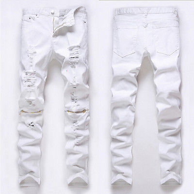 Fashion Men Stylish Ripped Jeans Pants Biker Classic Skinny Slim Straight Denim Trousers Jeans 2017 fashion patch jeans men slim straight denim jeans ripped trousers new famous brand biker jeans logo mens zipper jeans 604