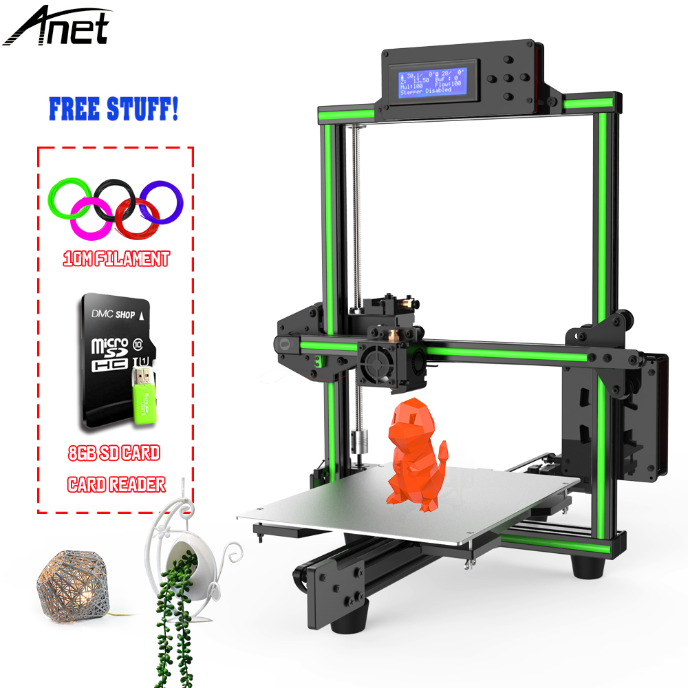 New 2018 Anet E2 3D Printer Kit Easy Assembly Big Printed Size DIY Delta 2004LCD with 10m PLA Filament 8GB Sd Card цена