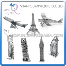 Piece Fun 3D Laser Cut DIY Assembly Models Eiffel Tower Big Ben Plane Metal Puzzle World Architecture Adult kids educational toy